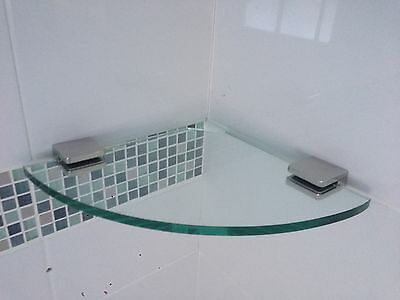 250mm Glass Shower Shelf Round Corner  316 Stainless  Clamps
