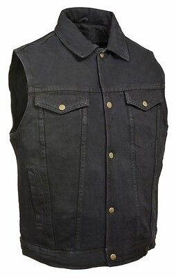 Mens Black Denim Vest w/ Snap Front Closure, Shirt Style Collar & Chest Pockets
