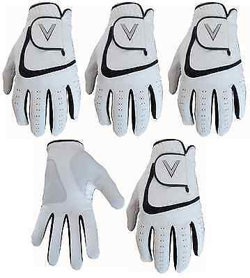 5 White Men's All Weather Soft Golf Gloves Leather Palm Patch V Logo