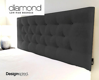 DIAMOND LOW RISE Upholstered Bedhead Headboard for Queen Size Ensemble - BLACK