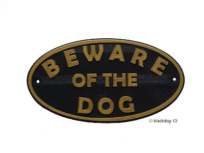 Beware of The Dog Sign - House Garden Plaque - Gold/Black