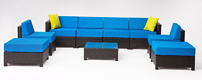 9 pcs Wicker Patio Sectional Outdoor Sofa Furniture set With Coffee Table Blue