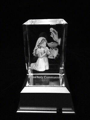 Girl First Holy Communion - 3D Laser Etched Crystal Block With 4 Multi LED Base