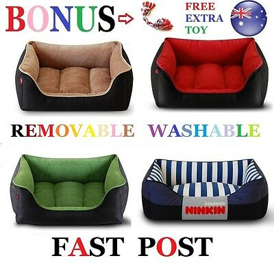 Dog Puppy Cat Pet Home Cushion Bed Soft Brown Black Green Red Medium Extra Large