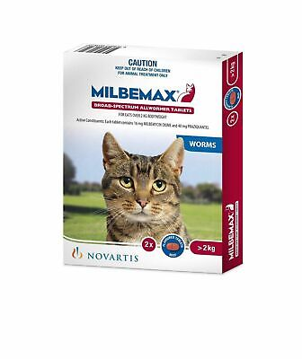 Milbemax All wormer for Cats Large 2-8kg 2 Pack Worm Tablets Intestinal Worming