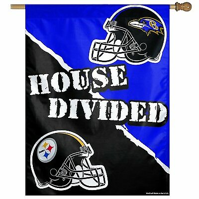 Pittsburgh Steelers vs.Baltimore Ravens 27/37-Inch Vertical Flag, House Divided