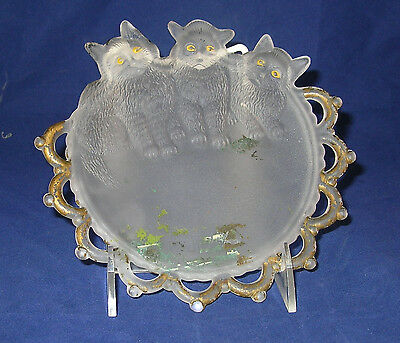 Three Kitten frosted plate Westmoreland Specialty early 1900's