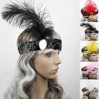 1920's Headband Costume Feather Sequin Flapper Headpiece Ladies Dance Party