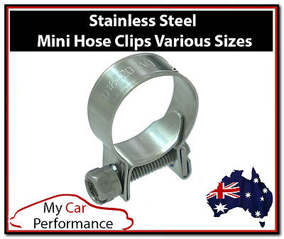 2x Performance Mini Fuel Line Hose Clamps Clips - Stainless Steel pressure
