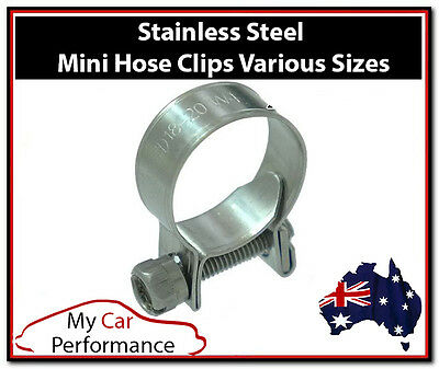2x Performance Mini Line Hose Clamps Clips - Stainless metal Steel