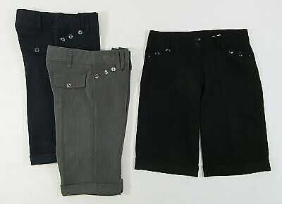Adults Kids Girls School Uniform Nine 9 Button Shorts Black Grey Navy Adjustable
