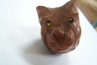 Antique Folk Art Carved Wood Primitive kittycat Smoke Pipe figural Briar Italy