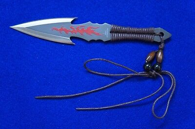 "Special ""Flame Strike"" Throwing Knife  in Silver with Mock Leather Sheath"