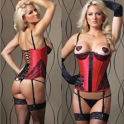 Suspender Women's Underbust Bustier Corset Basque Boned Thong Lingeries Lace Up