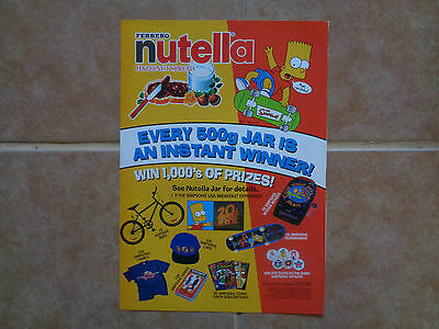 The Simpsons Nutella promo_MAGAZINE CLIPPINGS CUTTINGS_ships from AUSTRALIA_K9