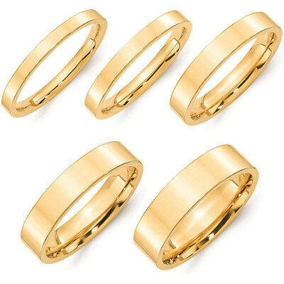 SOLID 18k GOLD SHINY FLAT COMFORT FIT WEDDING BAND RING MEN WOMEN HIGH POLISH