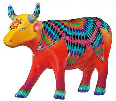 New COW PARADE Figurine QUINCY Statue QUILTED STAR Figure MULTI-COLOR FOLK ART