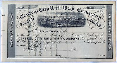 Central City Rail Way Company Stock Certificate Syracuse Ney York Railroad