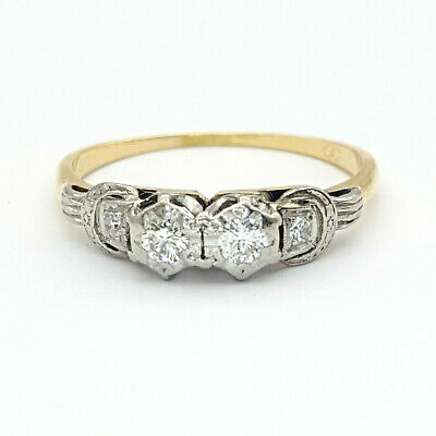 18ct (750, 18K) Yellow Gold Ladies 0.21ct Diamond Antique Dress Ring