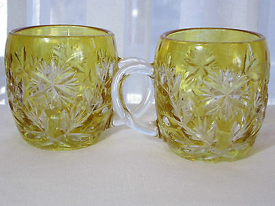 Cut to Clear Bohemian Crystal Cups Set of 2 Yellow