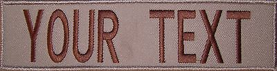 CUSTOM PATCH WITH HOOK FASTENER 2 x 8  INCHES COYOTE BROWN