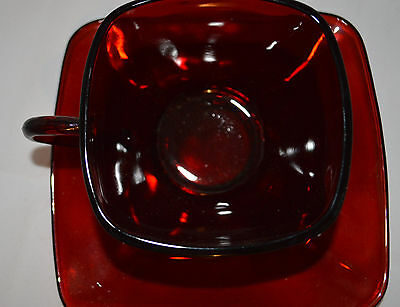 Royal Ruby RED Square Anchor Hocking Cup Saucer Mug teacup Rich Color Blood