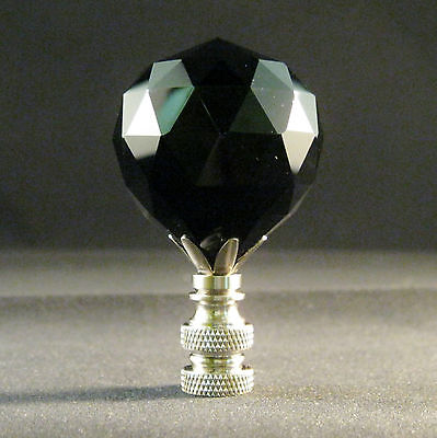 Lamp Finial-Black Leaded Crystal Lamp Finial-Satin Nickel Base