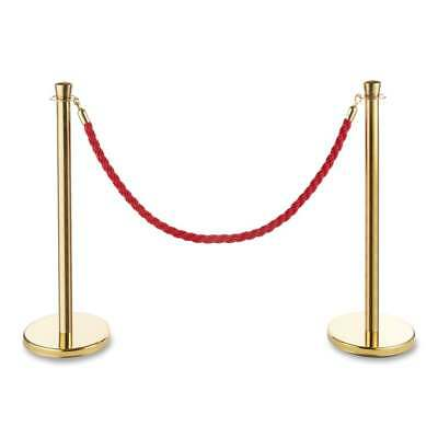 2xPolished Gold Stainless Steel Queue Rope Barrier Posts with 1.5m Rope-Choose