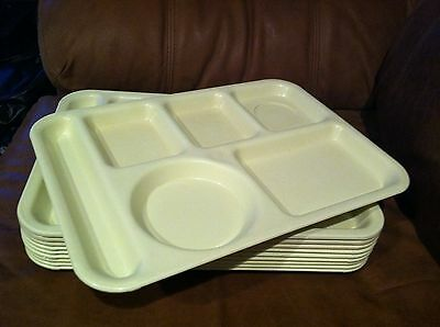 Lot 10 Yellow/Gold Si-Lite Cafeteria Trays, Lunch Food Meal Divided Melamine