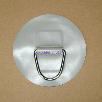 """2×Inflatable Boat """"D""""ring - Stainless Steel on Grey pvc patch - medium"""