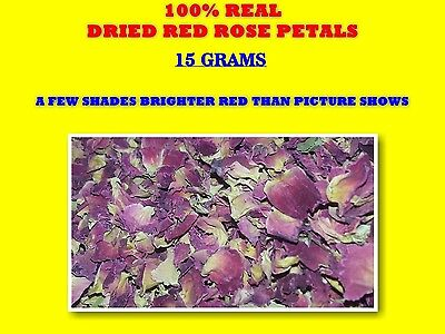 REAL DRIED RED ROSE PETALS  15g rosa sp ☆LOVE☆MAGICK ROMANCE ANNIVERSARY