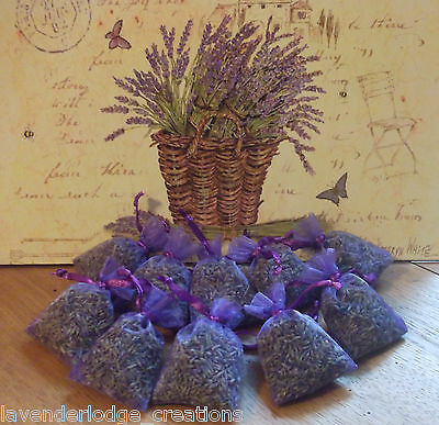 10 Dried Lavender Bags Aromatic Fragrant Favours,Calming,Sleep Aide,Moth Repell
