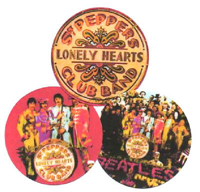 3 BEATLES SGT PEPPER  BADGES. 60's pop,  Psychedelia.