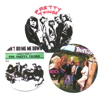 3 PRETTY THINGS  BADGES. 60's pop,  Psychedelia.