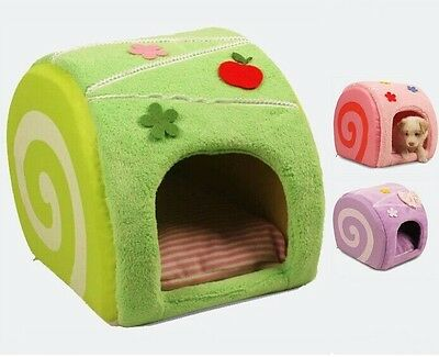 New Sweet Cake Pet Dog Cat House Puppy Bed Tent Green/Pink/Pink size S