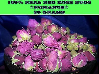 20Grams REAL DRIED RED ROSE BUDS 20G FRESH~☆LOVE☆MAGICK ROMANCE ANNIVERSARY