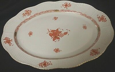 HEREND CHINESE BOUQUET RUST PLATTER TRAY BASKETWEAVE HAND PAINTED HUNGARY