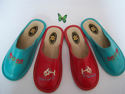 Kids Children Girls Boys 100% Leather Slippers Mule Red Blue Size 12.5-2.5