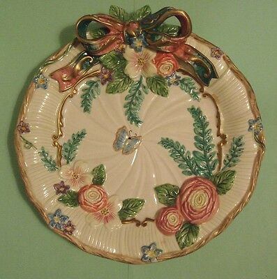 Fitz Floyd Woodland Spring Canape Plate Butterfly pink yellow flowers