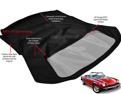 Fiat 124 Spider, 2000  CS2 1979-1982 Convertible Soft Top Black Stayfast Cloth