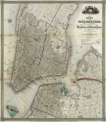 Huge 1840 New Map Of New York City Brooklyn & Williamsburg Street Wall Map