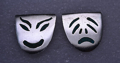 Vtg Mexican Sterling Silver Inlaid Turquoise Comedy Tragedy Cufflinks Signed Jbs