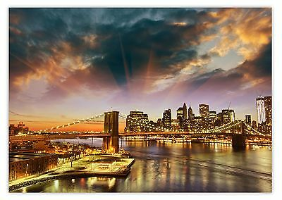 XXL Poster 100 x 70cm New York Skyline mit Brooklyn Bridge im Sonnenuntergang