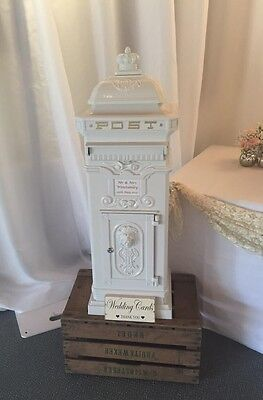 Vintage Style Wedding Function Party White Post Box Postbox Hire Only Essex