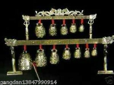 Meditation Gong with 12 Ornate Bells with Dragon Design