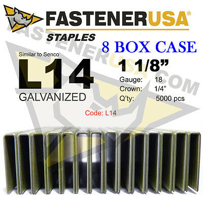 "L Staples L14 Galv 18 gauge 1/4"" crown 1 1/8"" length (fits Hit/Sen) case qty 8"