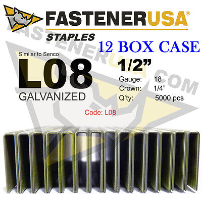 "L Staples L08 Galv 18 gauge 1/4"" crown 1/2"" length (fits Hit/Sen) case qty 12"