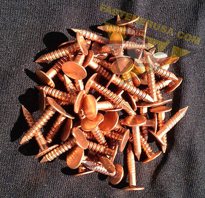 "3/4"" Annular Ring Shank Solid Copper Roofing Nails 11 gauge (50 pcs)"