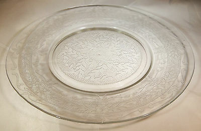 "Macbeth Evans S Pattern Stippled Rose Band Crystal 8"" Diameter Luncheon Plate!"