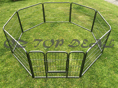 60 cm 8 Panel Pet Dog Playpen Puppy Exercise Fence Enclosure Cage Cat Play Pen